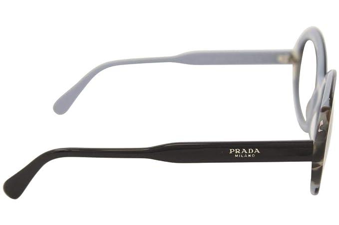 460c3684f9 Amazon.com  Prada PR17US KHR0A7 Black Azure Brown PR17US Oval Sunglasses  Lens Category  Prada  Clothing
