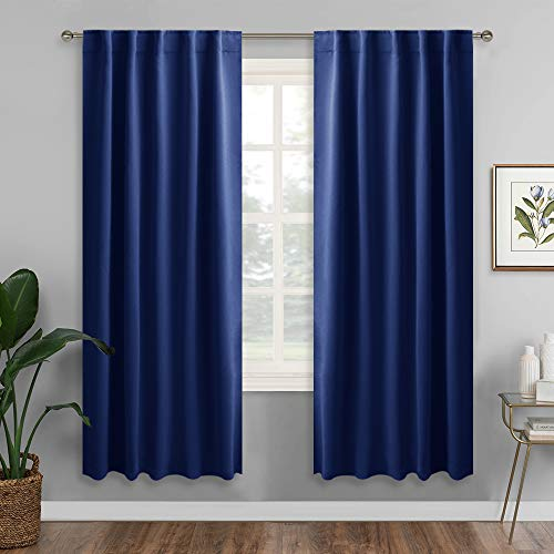 RYB HOME Kitchen Room Darkening Drapes, Thermal Insutaled Curtains for Energy Saving, with Back Tab/Rod Pocket 2 Haning Methods, Privacy Curtains for Boys' Bedroom, 42 x 72 inch, Navy Blue, 2 Pcs ()