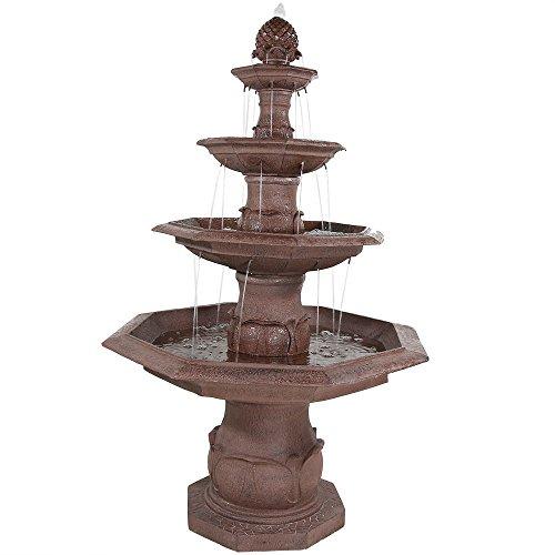 Sunnydaze Four-Tier Octagon Pineapple Outdoor Garden Water Fountain, 64 Inch ()