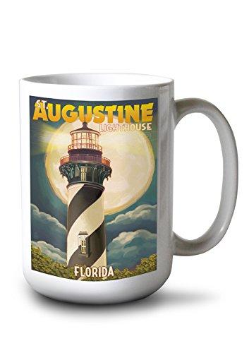 (Lantern Press St. Augustine, Florida - Lighthouse and Moon (15oz White Ceramic)