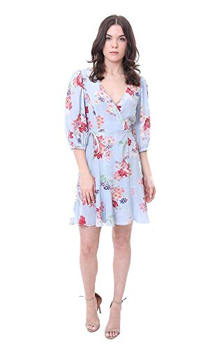 Amanda Uprichard Dresses Floral Silk Blue Wrap Dress - Light Blue Floral - L - Amanda Wrap
