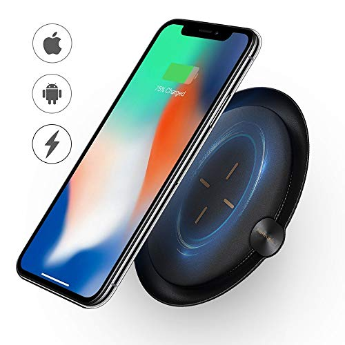 Wireless Charger, NANFU Wireless Charging Pad, 7.5W Charges Compatible iPhone XR/XS/XS Max/X/8/8P, 10W Fast-Charging Galaxy S9/S9+/S8 & All Other Qi-Certified Devices