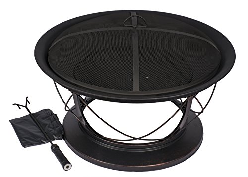 HIO 30-Inch Fire Pit with Spark Screen, Wood Grate, Cover and Poker