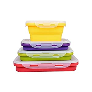 HomeIdeas Set of 4 Elegant, Fashionable & Stackable Food Storage Containers, Silicone Collapsible Lunch Bento Box, Freezer to Microwave Oven Safe, (350ML , 540ML , 800ML , 1200ML)