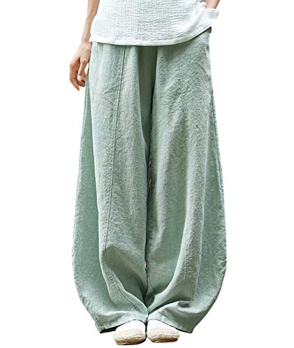 IXIMO Women's Cotton Linen Wide Leg Pants with Elastic Waist Baggy Long Bloomers Trousers with Pockets (Style2_Green, - Cuff Pants