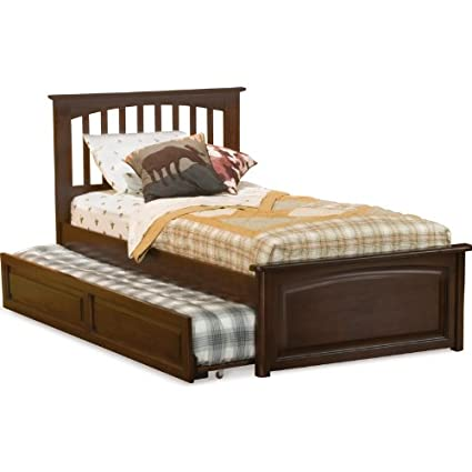 Atlantic Furniture Brooklyn Platform Bed with Raised Panel Footboard and  Trundle in Antique Walnut - Amazon.com: Atlantic Furniture Brooklyn Platform Bed With Raised