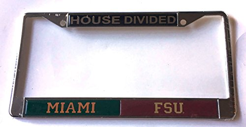 Florida State House Divided (Miami Hurricanes - Florida State Seminoles House Divided Car Tag License Plate Frame)