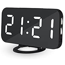EVIICC Electric LED Display Alarm Clock – Can Charge Your Phone, 2 USB ports, Snooze, Dimmer and Battery Backup and 12/24 Hours White