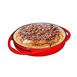Double Handled Enameled Red Cast Iron Round Tarte Tatin Dish Pan Mini Roasting Dish