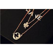 P.phoebus 18K Rose Gold Lucky Flower Choker Statement Bib Swarovski Crystal Rhinestone Charms Pendant Necklace For Women Girls (flower necklace)
