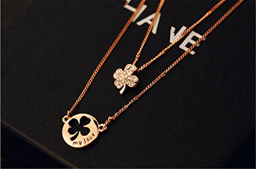 (P.phoebus 18K Yellow Gold Flower Necklace Choker Statement Bib White Swarovski Crystal Rhinestone Multi Layers Charms Pendant for Women Girls (11))
