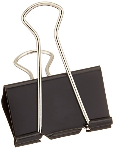 "1InTheOffice Large Metal Binder Clips, Black, 2"" Size with 1"" Capacity -12 Clips (Large)"