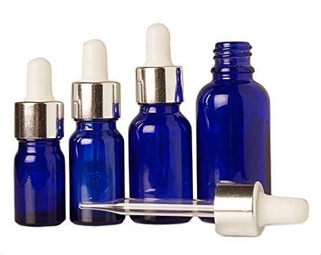 Azul pipeta de vidrio botella vacía de aceites de aromaterapia recargable 50 ml de suero de