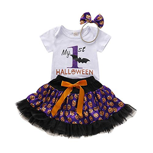 Baby Girl First Halloween Outfit Costume Tutu Romper Headband Set (Halloween, 6-12 M (80))]()