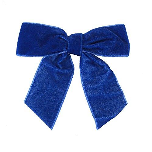 Pre-Tied Velvet Bows, 1-1/2-Inch, 12-Pack (Royal -