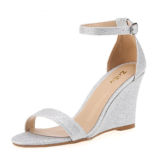 ZriEy Women's Ankle Strap Buckle Mid Wedge Platform Heeled Sandals 8CM Summer Dress Sandals Pump Shoes Silver Size 8.5