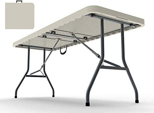 8 Foot Plastic Folding Table – Folds in Half with Carrying Handle Rectangular – Lightweight and Portable – White Resin with Sturdy Steel Frame – 30 x 96 – by Ontario Furniture