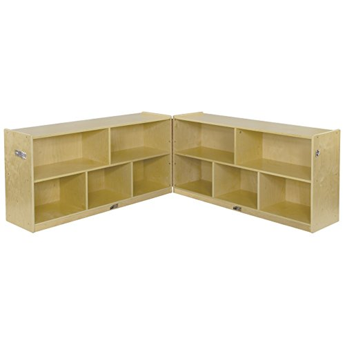 (ECR4Kids Birch School Classroom Fold & Lock, 5-Section Storage Cabinet, Natural, 24