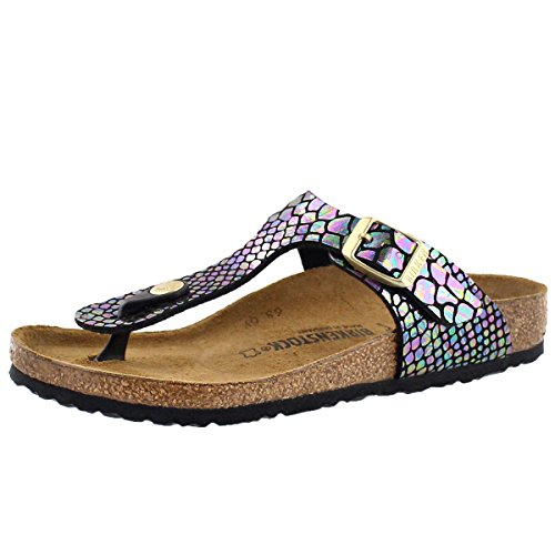Price comparison product image Birkenstock Girls' Gizeh Cork Footbed Thong Sandal - Narrow Blu Multi 32 N EU
