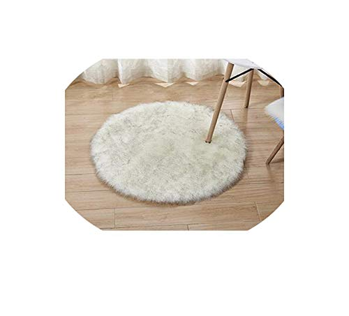 Washable Sheepskin Wool Carpet Chair Cover Bedroom Faux Mat Seat Pad,White Gray Hairy,Diameter 35cm