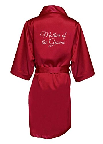 Silver Cranberry - Zynotti Women's Silver Glitter Print Mother of The Groom Getting Ready Bridal Party Wedding Kinomo Cranberry Red Satin Robe, L/XL (14-20)