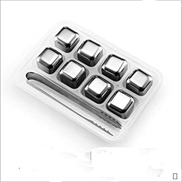 Yinyol Stainless Steel Chilling Ice Cubes Reusable for Whiskey Wine Beverage Set of 8