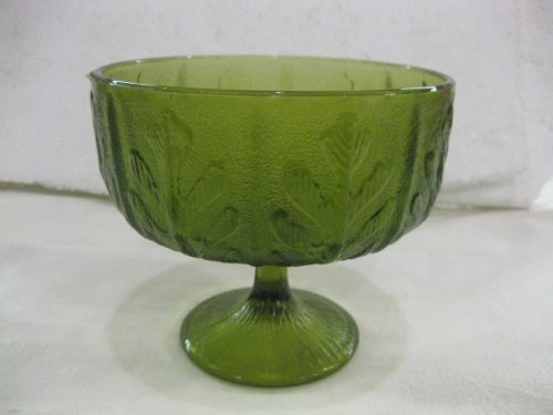 Vintage Antique FTD 1975 Green Leaf Candy Dish Stemmed Bowl Glass Planter ()