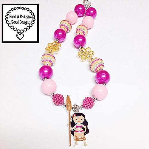 Girls, Toddler, Baby Princess Moana Bubblegum Chunky Necklace Hot Pink Pearl Pale Pink Sherbert Lime Rhinestone Flower Bead Accessory By BuildABraceletBeadDesigns for $<!--$26.99-->