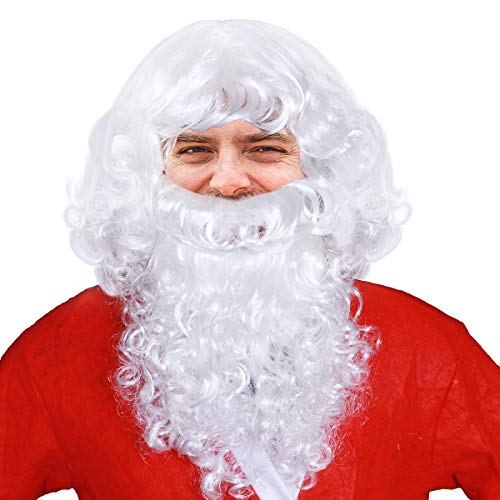 (WINOMO Santa Wig and Beard Set Christmas Wig White Fancy Dress)