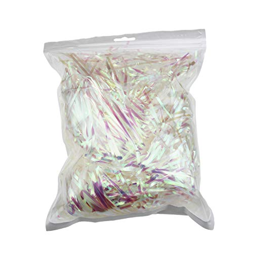 200 Grams Sparkly Iridescent Film PP Hamper Shreds & Strands Shredded Crinkle Confetti for DIY Gift Wrapping & Basket Filling -