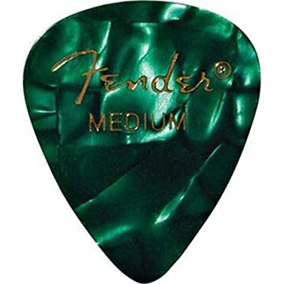 Fender 351 Shape Medium Classic Celluloid Picks, 12-Pack, Green Moto for electric guitar, acoustic guitar, mandolin, and bass by Fender Musical Instruments Corp.