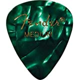 Fender 351 Shape Medium Classic Celluloid Picks, 12-Pack, Green Moto for electric guitar, acoustic guitar, mandolin, and bass