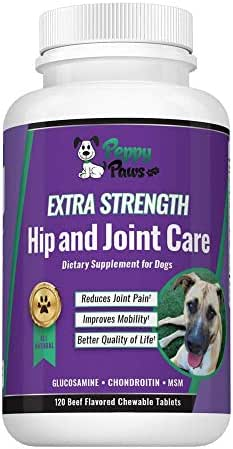 Peppy-Paws Glucosamine Chondroitin for Dogs with MSM - All Natural Joint Supplement for Dogs - Improves Mobility - Hip Dysplasia - Dog Joint Pain - Reduces Inflammation-120 Beef Flavored Tablets