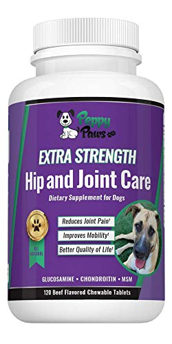 (Glucosamine Chondroitin for dogs with MSM - All Natural Joint Supplement for Dogs - Improves Mobility - Hip Dysplasia - Dog Arthritis Pain - Joint Pain - Reduces Inflammation-120 Beef)