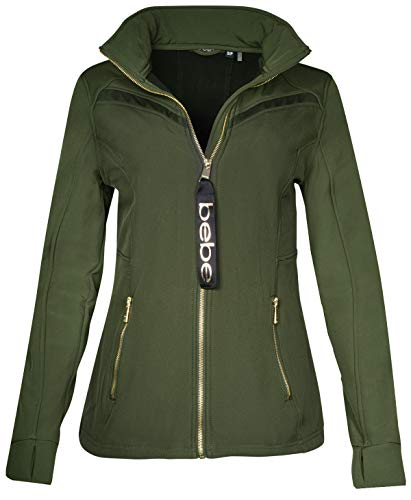 BEBE SPORT Ladies Fleece Lined Soft Shell Jacket with Double Layered Mesh, Olive, Small'