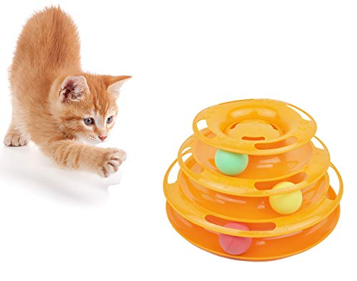 - Purrfect Feline Titan's Tower - New Safer Bar Design, Interactive Cat Ball Toy, Exerciser Game, Teaser, Anti-Slip, Active Healthy Lifestyle, Suitable for Multiple Cats (3 Level, Orange)