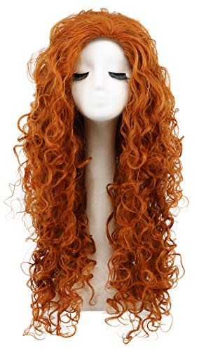 Karlery Women's Fluffy Long Curly Orange Wig Halloween Cosplay Wig Anime Costume Party Wig ()