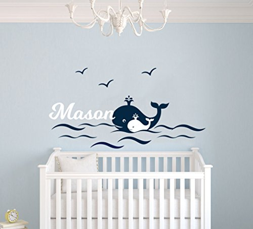 Mural Whale (Custom Name Waves Birds And Whales Animal Series - Baby Boy - Nursery Wall Decal For Baby Room Decorations - Mural Wall Decal Sticker For Home Children's Bedroom (MM97) (Wide 42