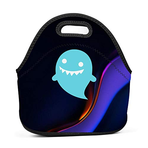 GCASST Cute Ghost Printed Lunch Bag, Neoprene Insulated Lunch Box, Reusable Tote for Girls Boys Kids Women Men Adults -