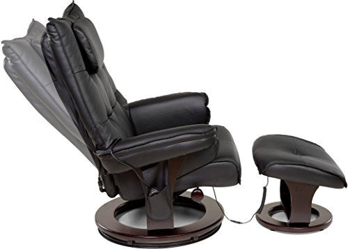 Relaxzen 8-Motor Massage Recliner with Lumbar Heat and Ottoman, Black