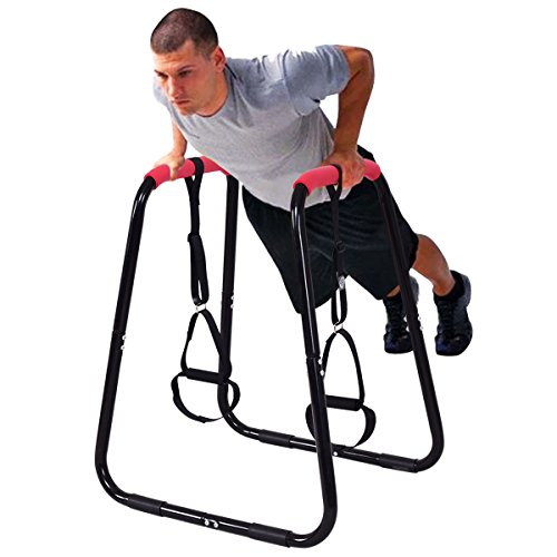 Goplus Heavy Duty Dip Station Dip Bar Fitness Strength Power Training Stand W/ Slings Loops