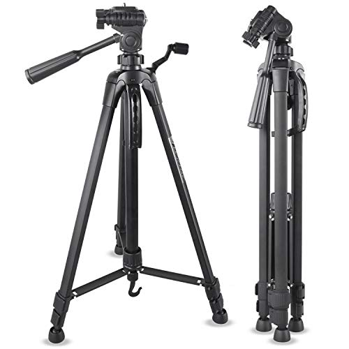 Emarth 55' Lightweight Camera Tripod, Aluminum Compact Scope Tripod with 3 Way Fluid Pan Head for Nikon Canon Sony DV Camcorder