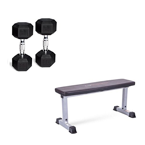 CAP Strength Flat Bench Compact Steel Construction & Rubber Barbell Set Coated Hex Dumbbells, 20 Lb Pair (40 Lbs Total) Bench Dimensions 46.5''L x 18''W x 19''H by Cap