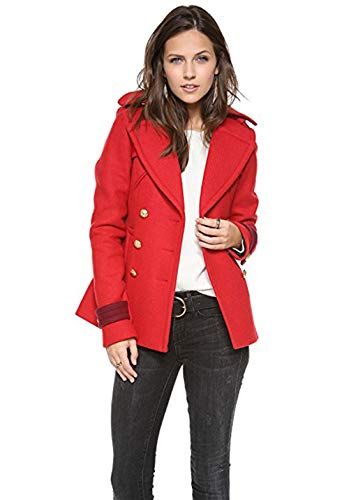 - SMYTHE Poppy Red/Crimson Classic Pea Coat Size 6