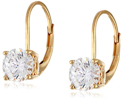 (Yellow Gold Plated Sterling Silver Lever back Earrings set with Round Swarovski Zirconia (2 cttw))