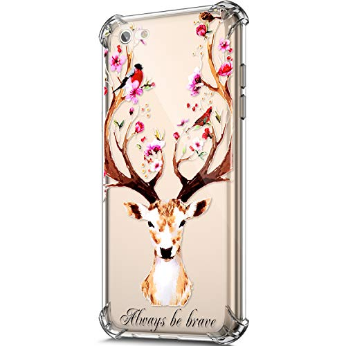 Price comparison product image ikasus Case for iPhone 6S Plus / iPhone 6 Plus Case, Clear Embossed Art Painted Pattern Design Soft & Flexible TPU Ultra-Thin Shockproof Transparent Girls Women TPU Case Cover, Flower Deer
