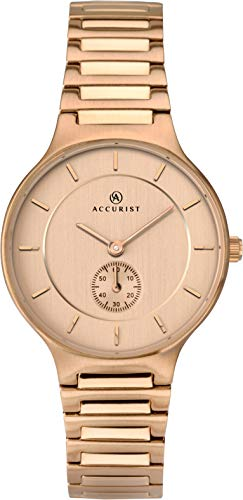 Accurist Ladies Analogue Quartz Watch with Rose Gold Dial and Rose Gold Plated Bracelet 8187