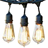 Brightech - Ambience Pro Vintage Edition - Outdoor Weatherproof Commercial-Grade Lights - WeatherTite Technology - 15 Edison Bulbs Included - 40 Watts - 48-Foot Strand - Black