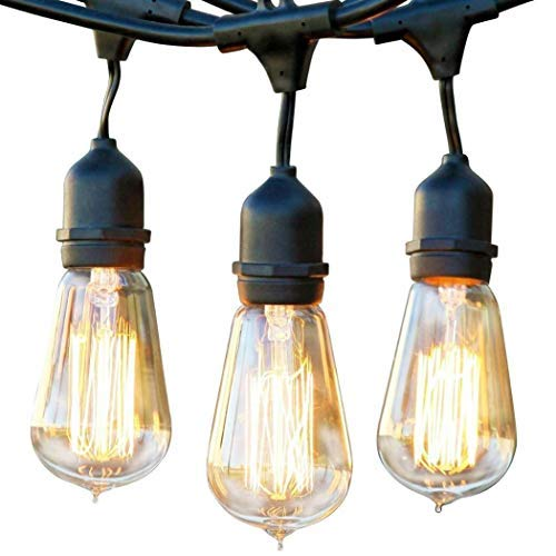 Brightech Ambience Pro - Waterproof Incandescent Outdoor String Lights - Hanging Vintage Edison Filament Bulbs - 48 Ft Market Lights Create Ambience On Your Deck, -
