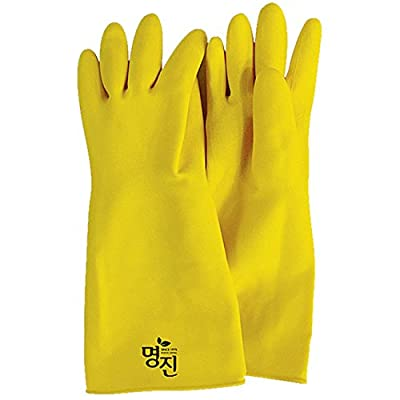 MJ Industrial Safety Thick Protective Rubber Latex Work Gloves Yellow